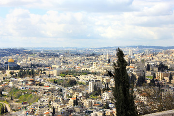Panorama of Jerusalem from Mount of Olives.