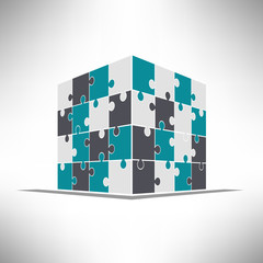 Puzzle cube in pespective. Building construction concept. Vector