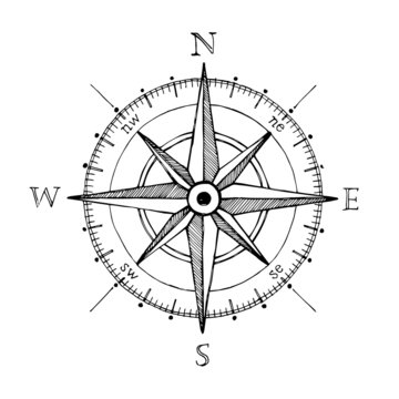 Compass wind rose hand drawn vector design element