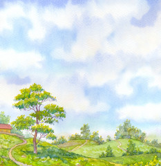 Watercolor landscape summer day. Tall oak tree beside the path