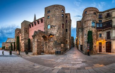 Panorama of Wall and Gate of Roman City Barcino and Placa Nova i