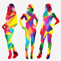 Set of silhouettes of three girls mosaic. Vector illustration.