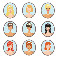 Bride images set.Wedding hairstyles design template
