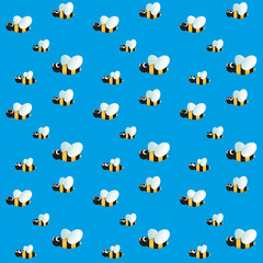 Seamless pattern with funny flying bees on sky