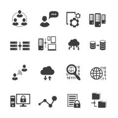 Big data icon set,  analytics, cloud computing. digital