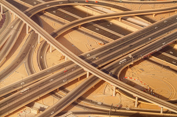 Highway road intersection in Downtown Burj Dubai.