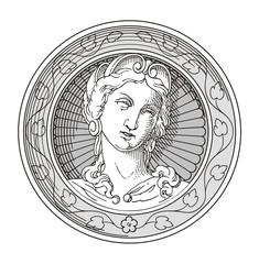 Antique Lady  Coin Vector