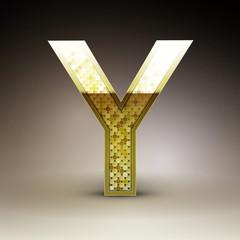 3d golden sequins letter Y