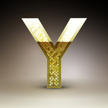 3d golden sequins letter Y