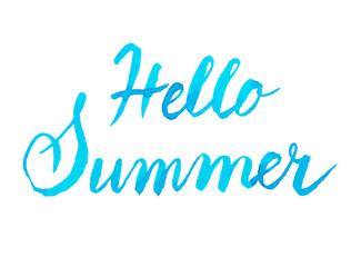 Handwritten blue watercolor calligrapical summer design element
