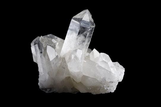 Quartz Crystal Cluster Horizontal on Black Background