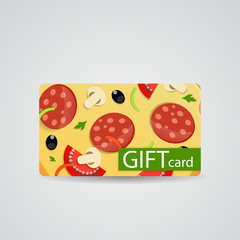 Abstract Beautiful Pizza Gift Card Design, Vector Illustration.