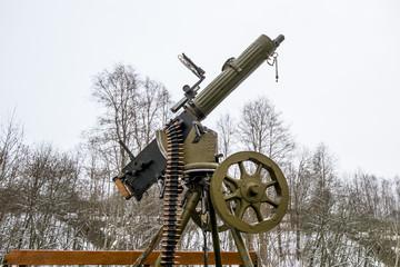 Maxim machine gun aboard a military machine