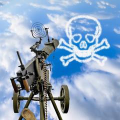 Maxim machine gun is pointed in a blue sky