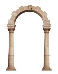 Obraz Beautiful antique arch isolated on white background - fototapety do salonu