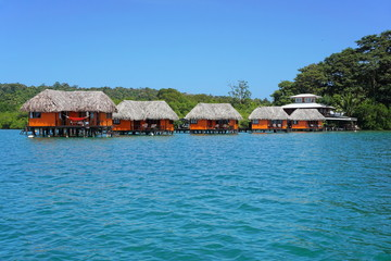Tropical resort over the water with bungalows