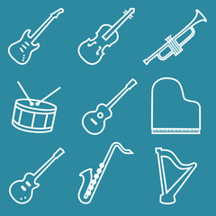 Musical instruments line icons set
