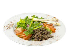 Salad with fresh vegetables, meat and rice bread