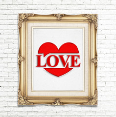"""""""Love"""" word and heart icon ( Saying love) in golden vintage phot"""