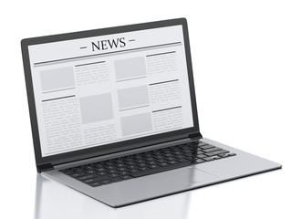 3d Laptop with news. Media concept