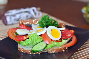Fresh and healthy sandwich with salami and vegetables on a plate
