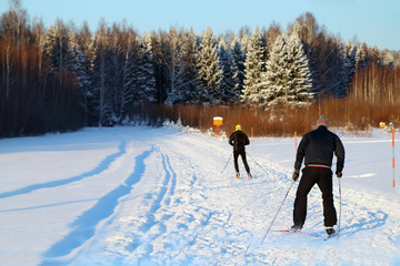 Back of two nonpro skiers riding on track near forest at winter