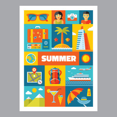 Summer holiday - mosaic poster with icons in flat design style.