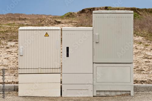Drei Neue Stromverteiler In Einem Erschlossenen Neubaugebiet