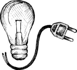 Light bulb and plug, doodle style, sketch illustration