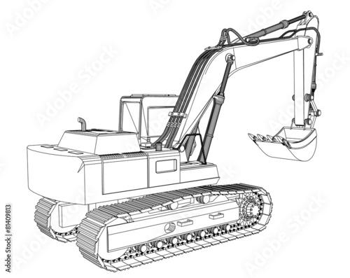 Excavator Sketch Isolated On White Background Stok