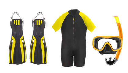 Scuba diving equipment - diving mask, wetsuit and flippers.