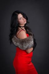 Beautiful woman retro portrait in red dress
