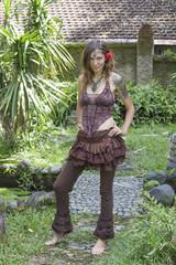 Beautiful hippie girl in nature
