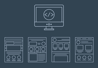 vector collection of web development icons - html, css, tags and