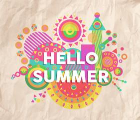 Hello summer quote poster design