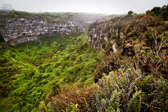 Amazing landscape of Twin Craters, Los Gemelos, mysterious mossy