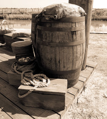 Containers /barrel, florida, wood, objects, old, sea, wooden, coast, container, rust, rocks, abandoned, pole, St Augustine, whiskey