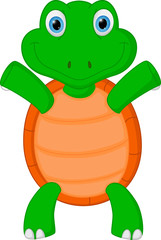 Happy green turtle cartoon