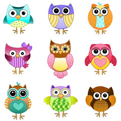 Set of Cute Vector Owls