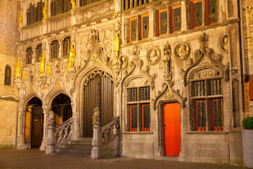 Basilica of The Holy Blood at night. Bruges, Belgium