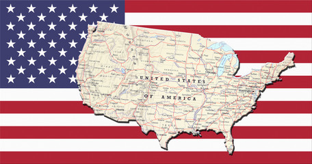 Geographical map on the flag of USA