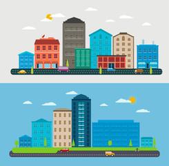 Flat design urban landscape, composition city scene