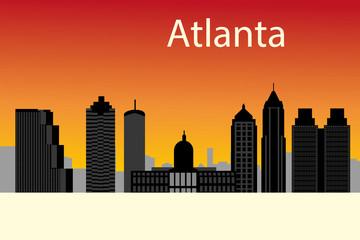 Atlanta, Georgia skyline. Detailed vector silhouette