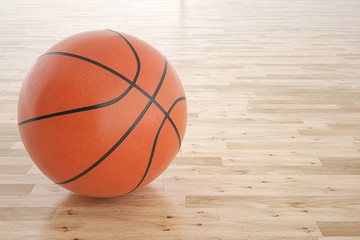 Illustration of a basketball on the wooden floor