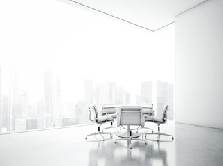 White meeting room with panoramic city view