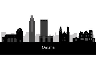 Omaha skyline linear style with in editable vector file