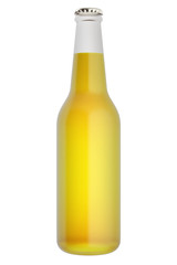 3d illustration of bottle of beer isolated on white background.