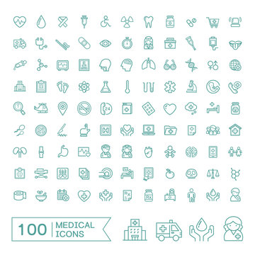 100 medical icons set