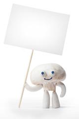 Champignon mushroom holding blank card