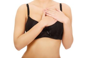 Woman's breast in bra.